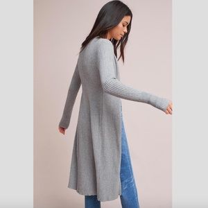 Anthropologie NWT Ribbed Longline cardigan Grey